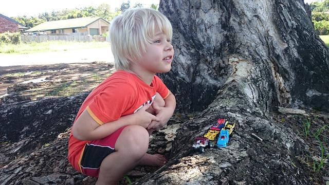 chlapec s autíčky u stromu